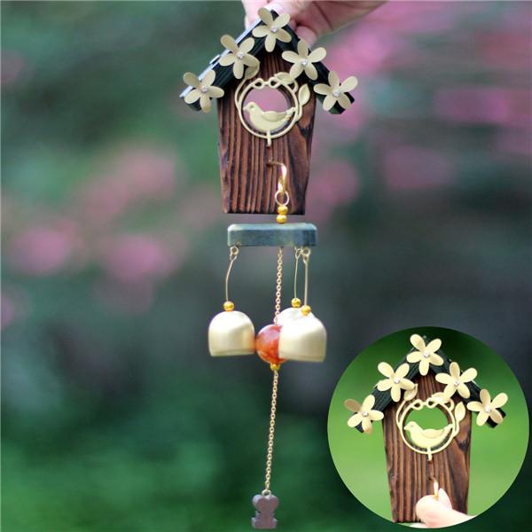 Bird House Flower Wind Chime Copper Wood Garden Ornament Home Decor
