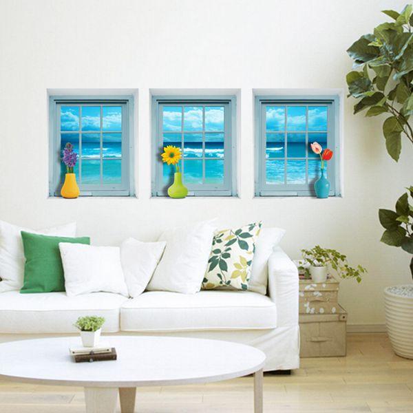3D Window Seascape View Wall Stickers