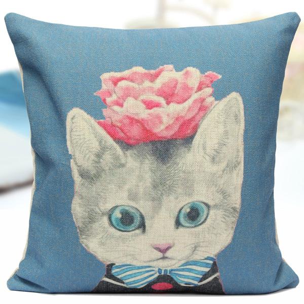 Vintage Cartoon Cat Cotton Linen Throw Pillow Case Sofa Cushion Cover Home Decor : Alex NLD