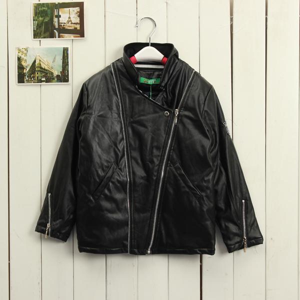 Baby Children Boys Cool  Warm Zipper Jacket Leather Outwear