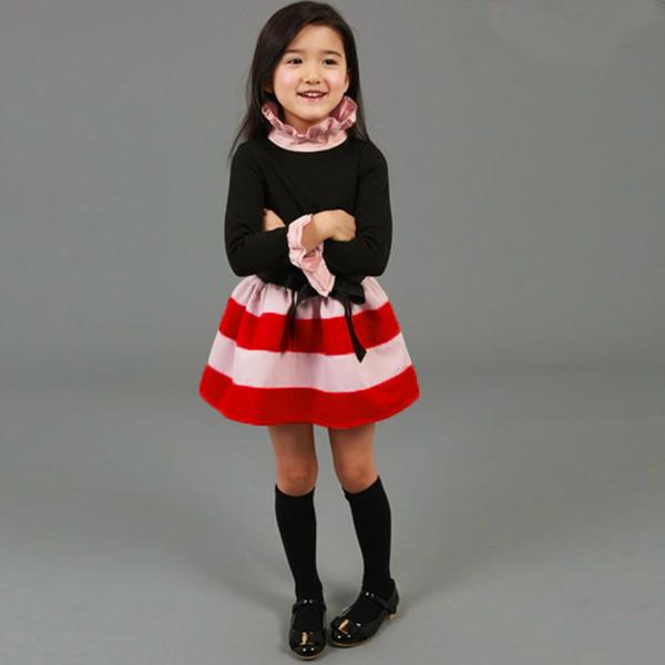Baby Children Girls Stripe Bow Gown Dress Party Fancy Skirt
