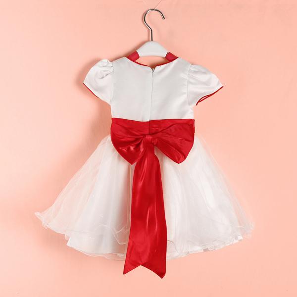 Baby Girls Love Tulle Dress Bowknot Short Sleeve Skirt