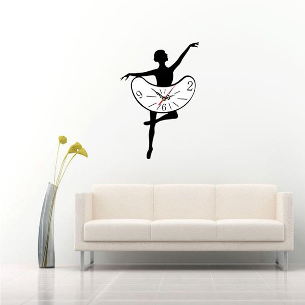 3D Modern Acrylic Ballet Dancer Mirror Wall Clock Bedroom