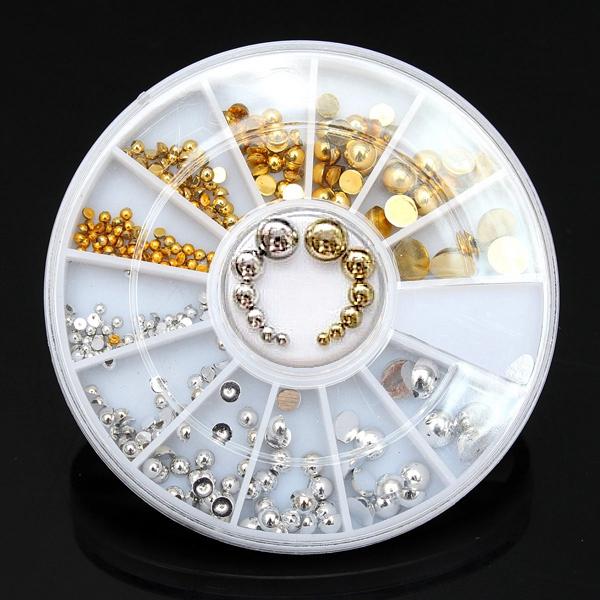 6 Sizes Gold Silver Half Round Stud Nail Art Decoration Wheel