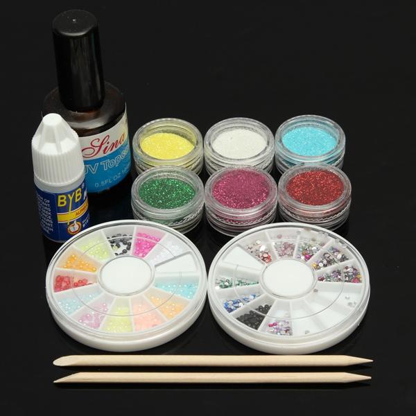 Acrylic Glitter Powder UV Gel Glue File Tip Nail Art Set