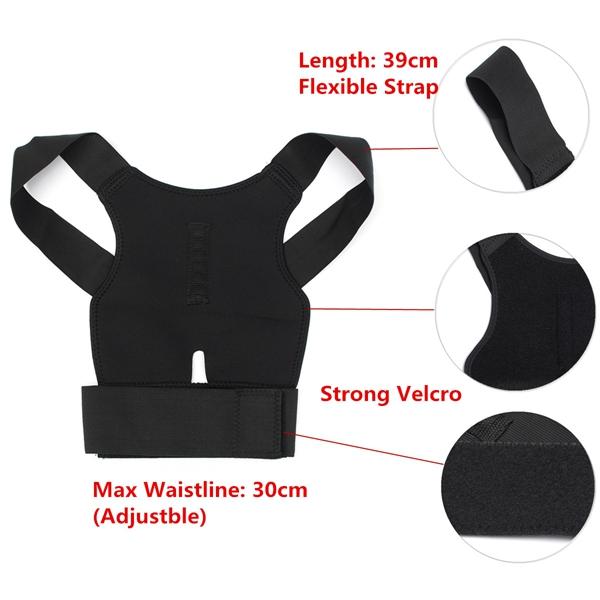 Back Support Belt Lumbar Shoulder Posture Spine Correction Straighten Brace