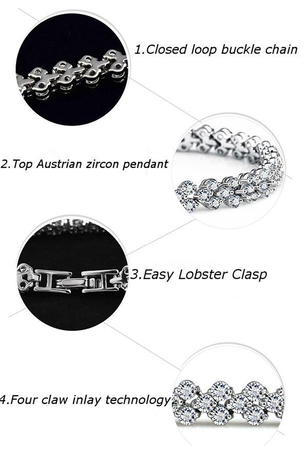 Silver Plated Zircon Rhinestone Bracelet