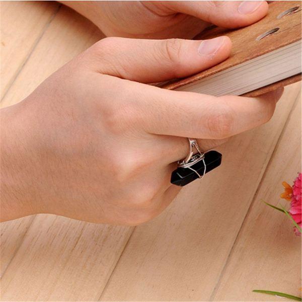 Hexagonal Pendulum Quartz Finger Ring