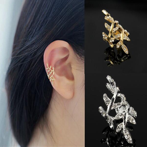Rhinestone Leaf Earring