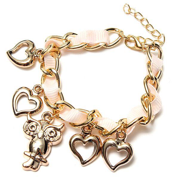 Owl Heart Charm Bracelet