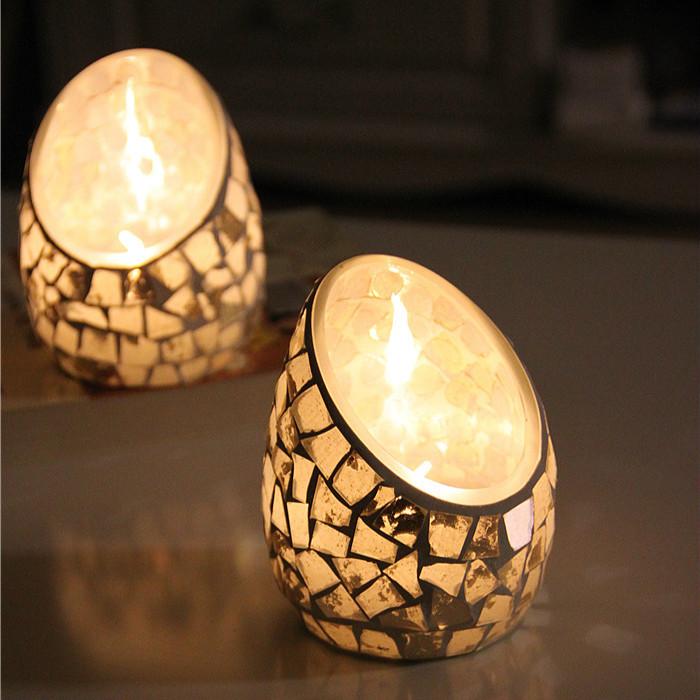 Mosaic Glass Candlestick