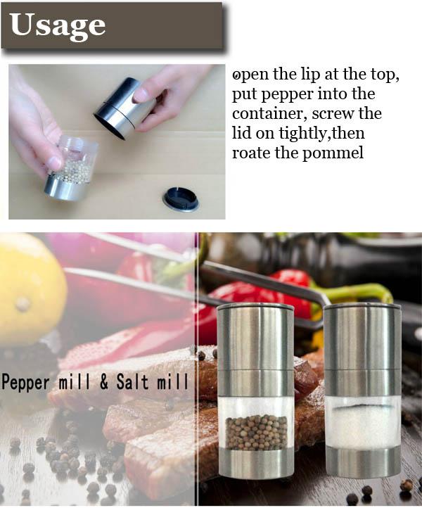 Stainless Steel Manual Pepper Salt Mill Grinder Spice Kitchen Mill Muller