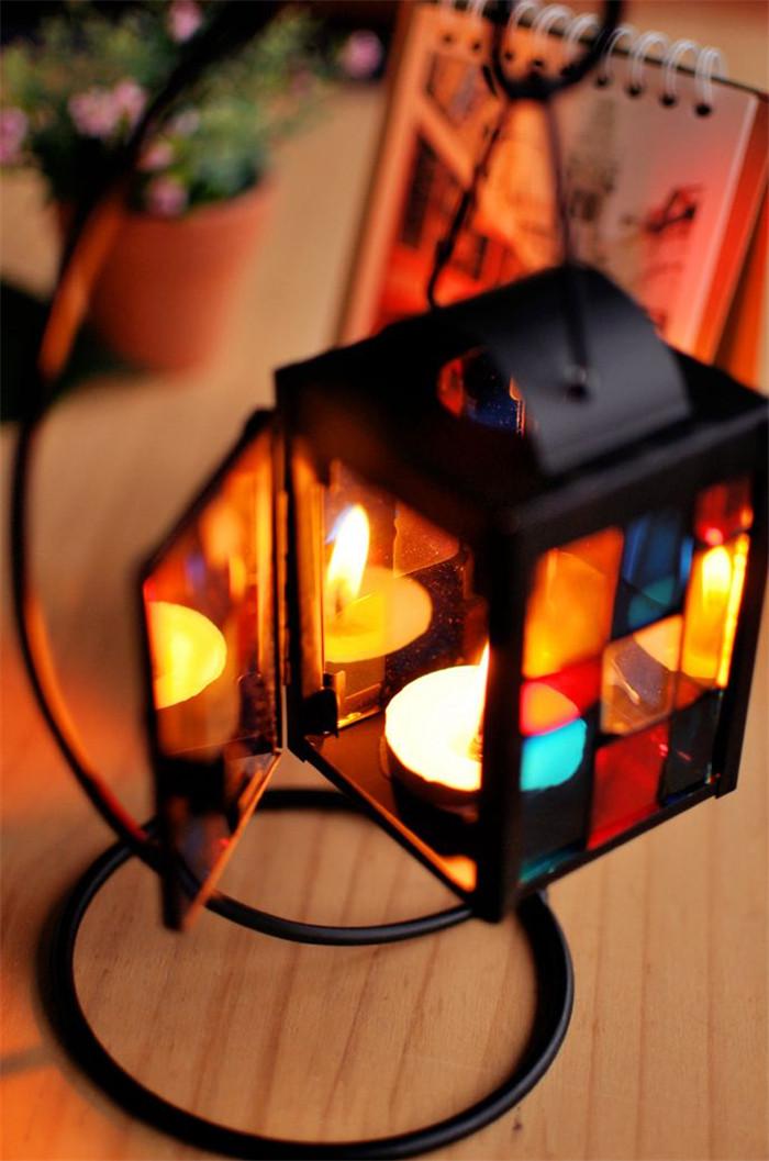 Iron Colorful Glass Candleholder Lantern