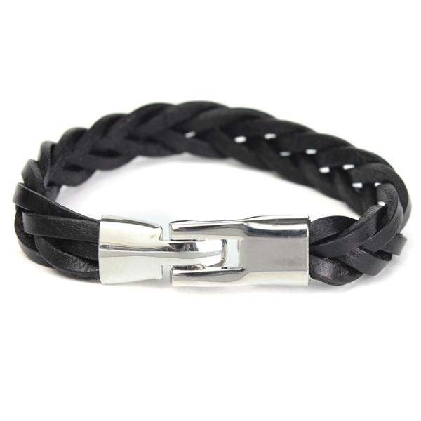 Vintage Braided PU Leather Stainless Steel Bracelet