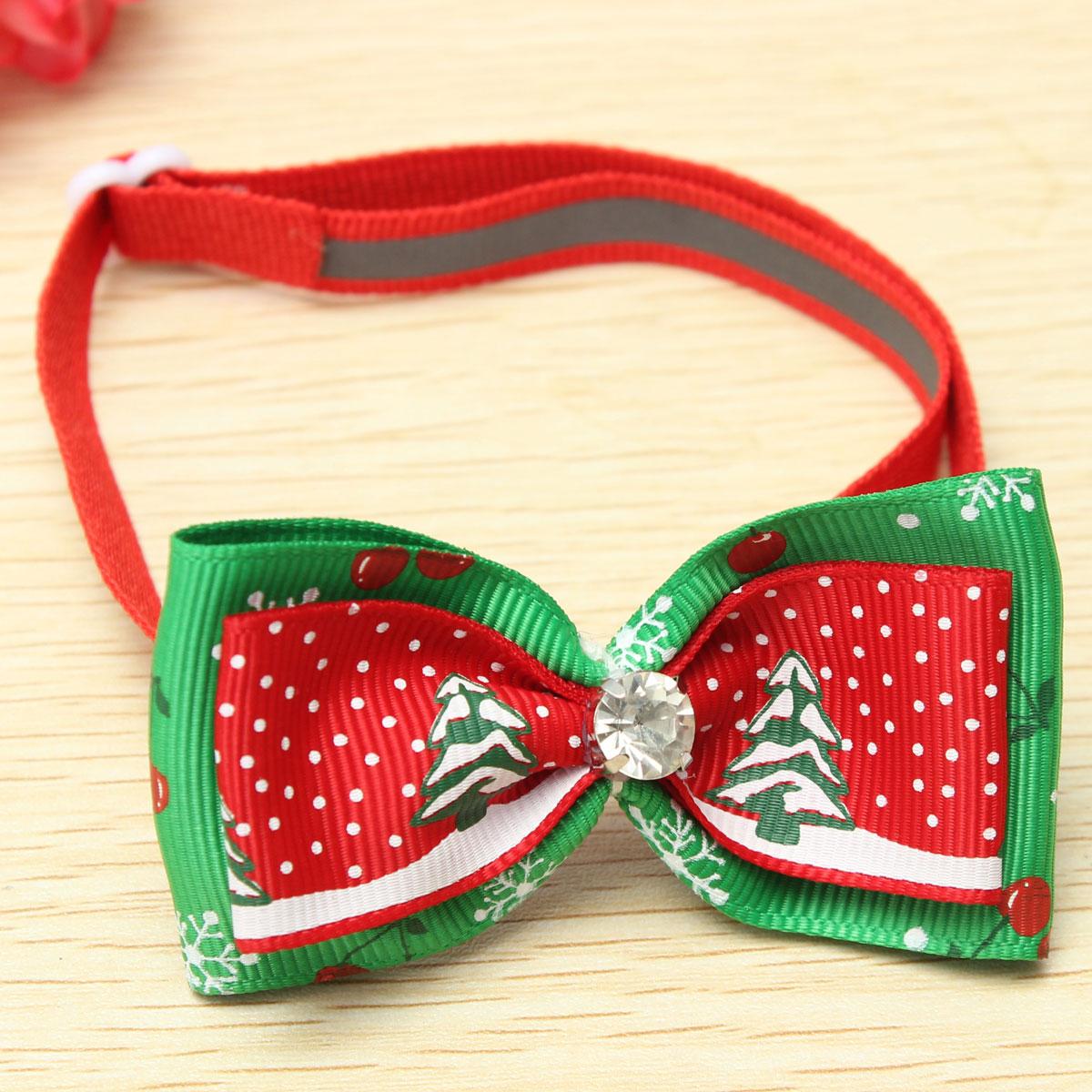Adjustable Christmas Pet Dog Cat Bowtie Tie Christmas Tree Pet Collar Decoration