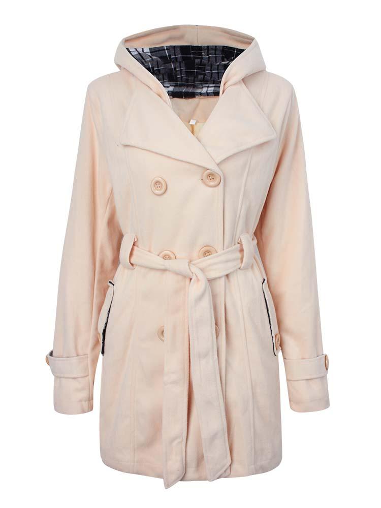 Check Hooded Women Coat