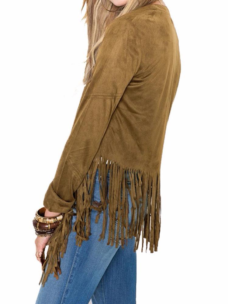 Long Sleeve Suede Tassel Jacket