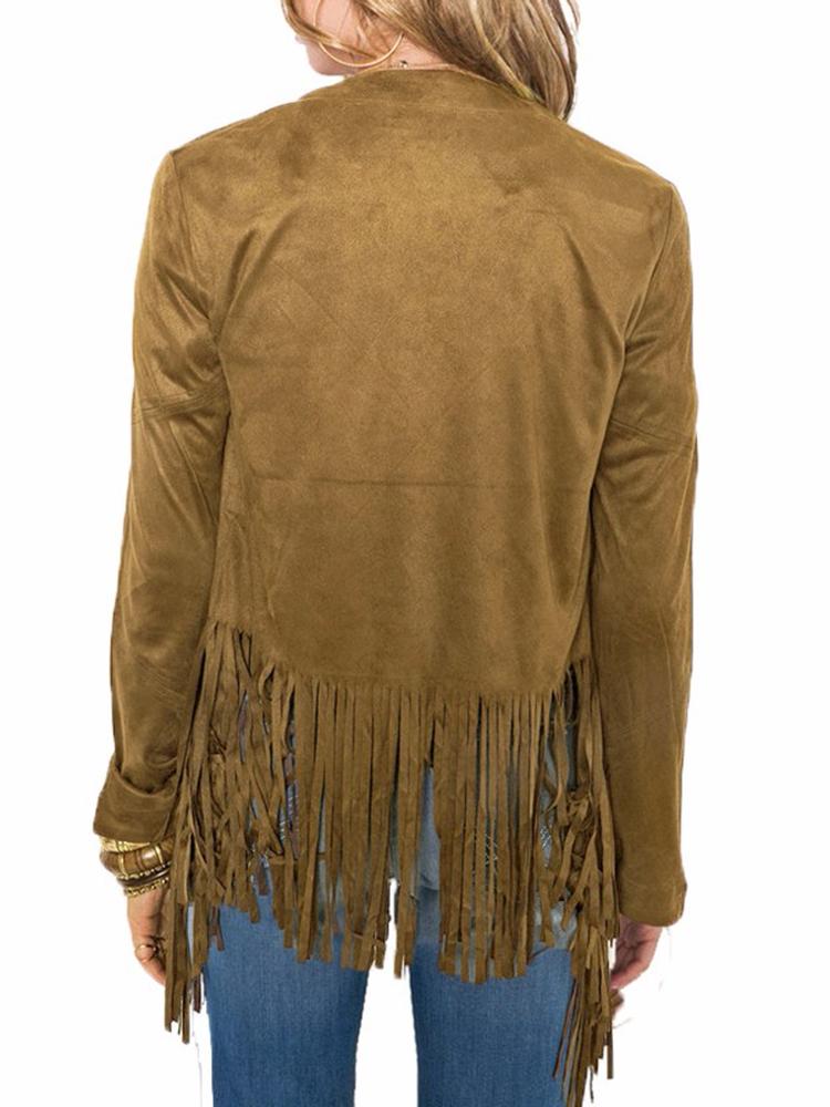 Casual Long Sleeve Suede Tassel Jacket