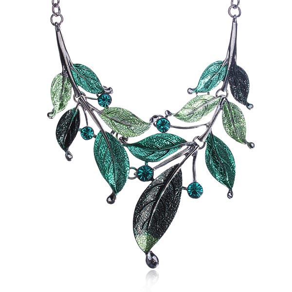 Leaf Rhinestone Jewelry Set