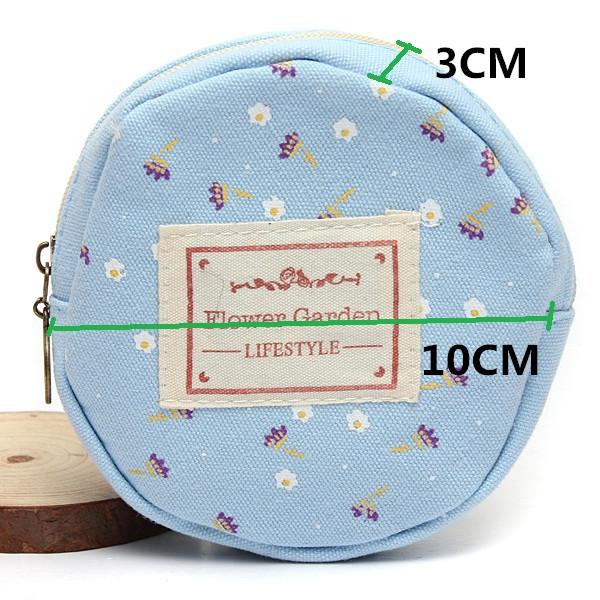Women Canvas Mini Floral Flower Round Card Cash Coin Wallet Pouch Bag
