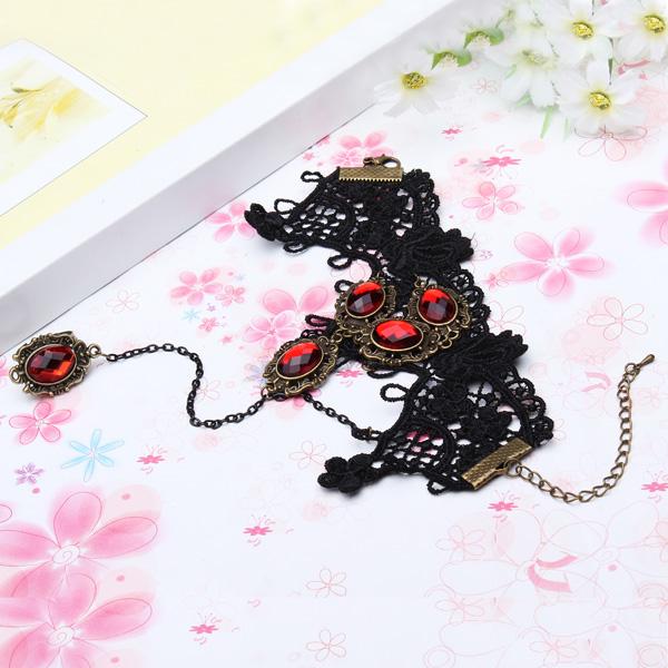 Black Lace Ring Bracelet