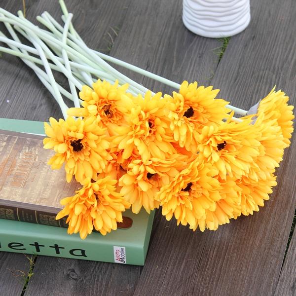 10шт луч искусственные цветы Гербер ромашки букет невесты шелк свадьба цветы