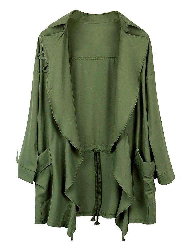 Women Casual Turn-Down Collar Long Sleeve Solid Regular Sweater 0029