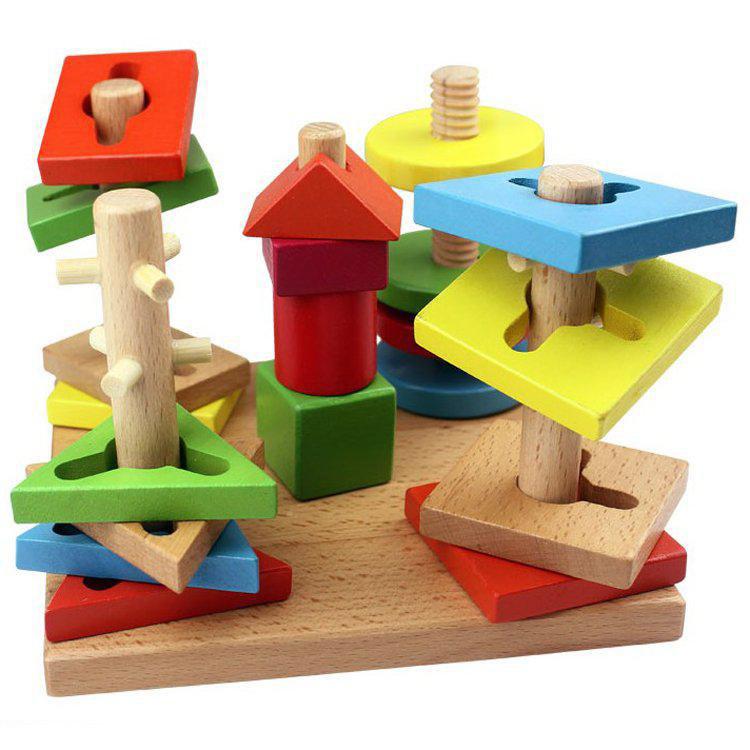 Wooden Construction Toys : Children wooden toys five column suit colorful building