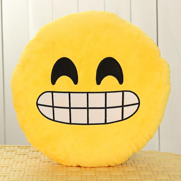 Emoji Smiley Emoticon Yellow Round Cushion Pillow Soft Toy - Photo: 8
