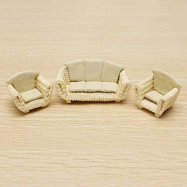 The Model Material Indoor Scene Decoration Ceramics Sofa Set 1:25 - Photo: 3