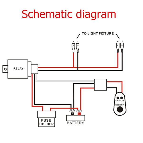 12v 40a led work fog light lamp bar wiring harness kit on. Black Bedroom Furniture Sets. Home Design Ideas